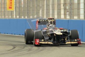 © 2012 Octane Photographic Ltd. European GP Valencia - Friday 22nd June 2012 - F1 Practice 1. Lotus E20 - Kimi Raikkonen. Digital Ref : 0367lw1d3160