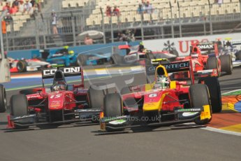 © 2012 Octane Photographic Ltd. European GP Valencia - Sunday 24th June 2012 - GP2 Race 2 - Racing Engineering - Nathanael Berthon tangles with Fabio Onidi of Scuderia Coloni and is about to remove his front wing. Digital Ref : 0375lw1d6039
