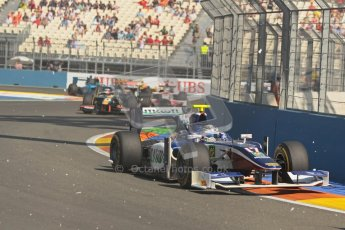 © 2012 Octane Photographic Ltd. European GP Valencia - Sunday 24th June 2012 - GP2 Race 2 - Trident Racing - Julian Leal keeps his foot down through the flying debris. Digital Ref : 0375lw1d6047