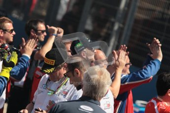 © 2012 Octane Photographic Ltd. European GP Valencia - Sunday 24th June 2012 - GP2 Race 2 Podium - The team members gather to cheer on their drivers on the podium. Digital Ref : 0375lw1d6560