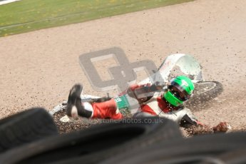 © Octane Photographic Ltd. Wirral 100, 28th April 2012. 250ccGP, Formula 400 and Minitwins, qualifying race. Steve Green drops his Honda 250 whilst leading the Qualifying race. Digital ref : 0303cb7d8950