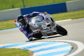 © Octane Photographic Ltd. 2012 World Superbike Championship – European GP – Donington Park. Friday 11th May 2012. WSBK Free Practice. Leon Camier - Suzuki GSX-R1000. Digital Ref : 0328cb1d2364