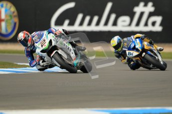 © Octane Photographic Ltd 2012. World Superbike Championship – European GP – Donington Park, Sunday 13th May 2012. Race 1. Leon Camier and Michel Fabrizio. Digital Ref : 0335cb1d5170