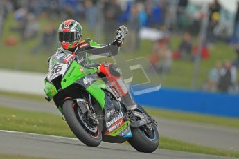 © Octane Photographic Ltd 2012. World Superbike Championship – European GP – Donington Park, Sunday 13th May 2012. Race 1. Tom Sykes waves to the crowd. Digital Ref : 0335cb1d5441