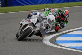 © Octane Photographic Ltd 2012. World Superbike Championship – European GP – Donington Park, Sunday 13th May 2012. Race 1. Leon Haslam and Tom Sykes. Digital Ref : 0335lw7d6967
