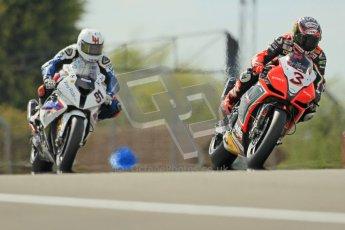 © Octane Photographic Ltd 2012. World Superbike Championship – European GP – Donington Park, Sunday 13th May 2012. Race 2. Max Biaggi and Leon Haslam. Digital Ref : 0337cb1d5546