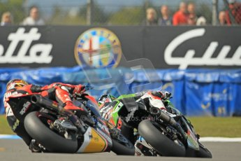© Octane Photographic Ltd 2012. World Superbike Championship – European GP – Donington Park, Sunday 13th May 2012. Race 2. Tom Sykes and Max Biaggi. Digital Ref : 0337cb1d5601
