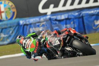 © Octane Photographic Ltd 2012. World Superbike Championship – European GP – Donington Park, Sunday 13th May 2012. Race 2. Tom Sykes and Max Biaggi. Digital Ref : 0337cb1d5604