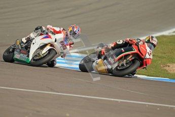 © Octane Photographic Ltd 2012. World Superbike Championship – European GP – Donington Park, Sunday 13th May 2012. Race 2. Max Biaggi and Jonathan Rea. Digital Ref : 0337cb1d5822