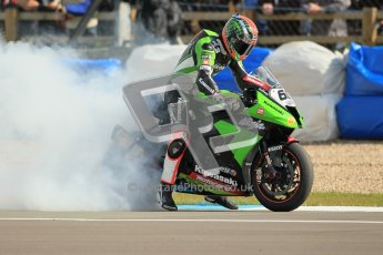© Octane Photographic Ltd 2012. World Superbike Championship – European GP – Donington Park, Sunday 13th May 2012. Race 2. Tom Sykes performs a burnout for his fans. Digital Ref : 0337cb1d5889