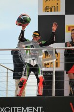 © Octane Photographic Ltd 2012. World Superbike Championship – European GP – Donington Park, Sunday 13th May 2012. Race 2. Tom Sykes on the podium. Digital Ref : 0337cb1d5928