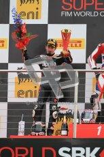 © Octane Photographic Ltd 2012. World Superbike Championship – European GP – Donington Park, Sunday 13th May 2012. Race 2. Max Biaggi on the podium. Digital Ref : 0337cb1d5979