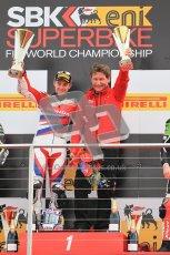 © Octane Photographic Ltd 2012. World Superbike Championship – European GP – Donington Park, Sunday 13th May 2012. Race 2. Jonathan Rea and team Boss on the top step of the podium. Digital Ref : 0337cb1d5996