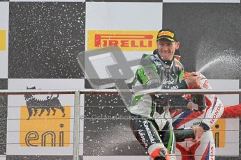 © Octane Photographic Ltd 2012. World Superbike Championship – European GP – Donington Park, Sunday 13th May 2012. Race 2. Tom Sykes sprays the crowd with his Champaign. Digital Ref : 0337cb1d6028