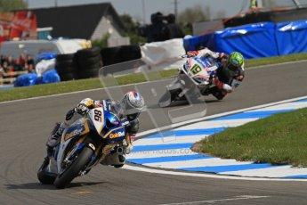 © Octane Photographic Ltd 2012. World Superbike Championship – European GP – Donington Park, Sunday 13th May 2012. Race 2. Ayrton Badovini and Chaz Davies. Digital Ref : 0337lw7d7848