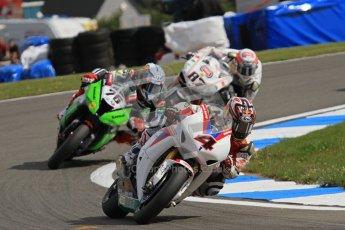 © Octane Photographic Ltd 2012. World Superbike Championship – European GP – Donington Park, Sunday 13th May 2012. Race 2. Hiroshi Aoyama, Loris Baz and Lorenzo Zanetti. Digital Ref : 0337lw7d7850