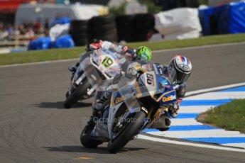 © Octane Photographic Ltd 2012. World Superbike Championship – European GP – Donington Park, Sunday 13th May 2012. Race 2. Ayrton Badovini and Chaz Davies. Digital Ref : 0337lw7d8088