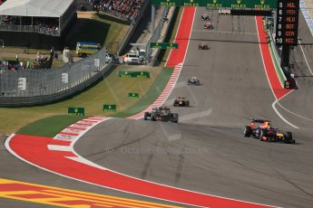 World © Octane Photographic Ltd. F1 USA GP, Austin, Texas, Circuit of the Americas (COTA), Sunday 17th November 2013 - Race. Vettel leads Grosjean and Hamilton. Digital Ref : 0861lw1d5950