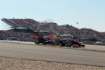 World © Octane Photographic Ltd. F1 USA GP, Austin, Texas, Circuit of the Americas (COTA), Sunday 17th November 2013 - Race. Infiniti Red Bull Racing RB9 - Sebastian Vettel. Digital Ref : 0861lw1d5984