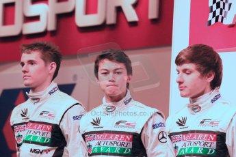 World ©  Octane Photographic Ltd./Carl Jones. January 10th 2013. Autosport International. 20112 Autosport McLaren BRDC Young Driver finalists, Josh Webster, Melville McKee and Jordan King. Digital ref :