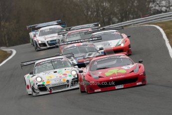 World © Octane Photographic Ltd. Avon Tyres British GT Championship. Monday 1st April 2013 Oulton Park – Race 2. Ferrari 458 Italia – Rosso Verde – Hector Lester, Allan Simonsen and Porsche 997 GT3-R – Trackspeed - Nick Tandy, David Ashburn lead the pack. Digital Ref : 0625ce1d9491