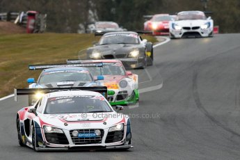 World © Octane Photographic Ltd. Avon Tyres British GT Championship. Monday 1st April 2013 Oulton Park – Race 2. Audi R8 LMS Ultra – United Autosports – Zak Brown, Matt Bell, Mark Patterson. Digtal Ref : 0625ce1d9552