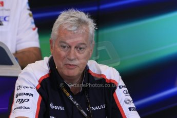 World © Octane Photographic Ltd. F1 Belgian GP - Spa - Francorchamps. Friday 23rd August 2013. FIA Friday Press Conference. Pat Symonds - Williams chief technical officer. Digital Ref : 0789lw1d8064