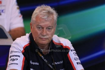 World © Octane Photographic Ltd. F1 Belgian GP - Spa - Francorchamps. Friday 23rd August 2013. FIA Friday Press Conference. Pat Symonds - Williams chief technical officer. Digital Ref : 0789lw1d8068