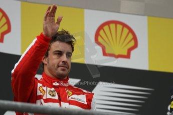 World © Octane Photographic Ltd. F1 Belgian GP - Spa-Francorchamps, Sunday 25th August 2013 - Podium. Scuderia Ferrari F138 - Fernando Alonso takes 2nd place. Digital Ref : 0798lw1d0661