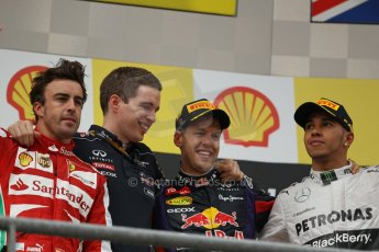World © Octane Photographic Ltd. F1 Belgian GP - Spa-Francorchamps, Sunday 25th August 2013 - Podium. Infiniti Red Bull Racing RB9 - race winner Sebastian Vettel, Scuderia Ferrari F138 - Fernando Alonso (2nd) .  and Mercedes AMG Petronas F1 W04 – Lewis Hamilton (3rd) on the podium. Digital Ref : 0798lw1d0821