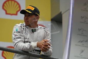 World © Octane Photographic Ltd. F1 Belgian GP - Spa-Francorchamps, Sunday 25th August 2013 - Podium. Mercedes AMG Petronas F1 W04 – Lewis Hamilton. Digital Ref : 0798lw1d0850