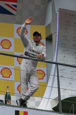 World © Octane Photographic Ltd. F1 Belgian GP - Spa-Francorchamps, Sunday 25th August 2013 - Podium. Mercedes AMG Petronas F1 W04 – Lewis Hamilton. Digital Ref : 0798lw1d0974