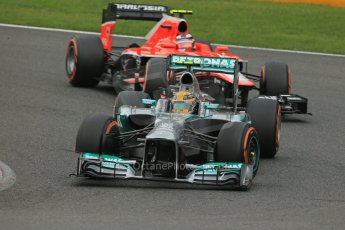 World © Octane Photographic Ltd. F1 Belgian GP - Spa-Francorchamps, Saturday 24th August 2013 - Practice 3. Mercedes AMG Petronas F1 W04 – Lewis Hamilton and Marussia F1 Team MR02 - Max Chilton. Digital Ref : 0792lw1d8927