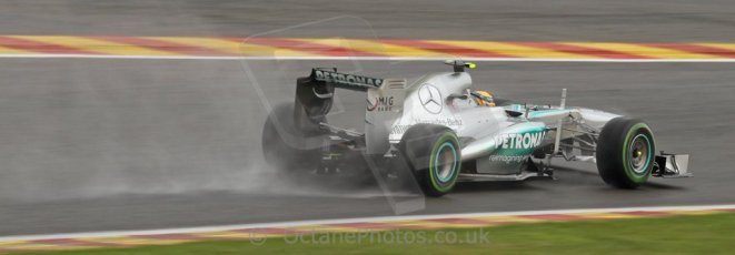 World © Octane Photographic Ltd. F1 Belgian GP - Spa-Francorchamps, Saturday 24th August 2013 - Qualifying. Mercedes AMG Petronas F1 W04 – Lewis Hamilton. Digital Ref : 0793cb7d2680
