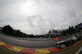World © Octane Photographic Ltd. F1 Belgian GP - Spa-Francorchamps, Saturday 24th August 2013 - Qualifying. Mercedes AMG Petronas F1 W04 – Lewis Hamilton. Digital Ref : 0793lw1d5453