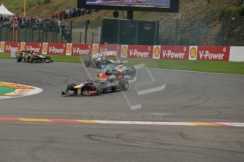 World © Octane Photographic Ltd. F1 Belgian GP - Spa-Francorchamps, Sunday 25th August 2013 - Race. Infiniti Red Bull Racing RB9 - Mark Webber and Sahara Force India VJM06 - Paul di Resta. Digital Ref : 0797lw1d0776