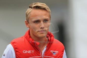World © Octane Photographic Ltd. F1 Belgian GP - Spa-Francorchamps, Saturday 24th August 2013 - Paddock. Marussia F1 Team MR02 - Max Chilton. Digital Ref : 0791lw1d8306