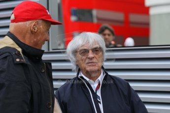 World © Octane Photographic Ltd. F1 Belgian GP - Spa-Francorchamps, Sunday 25th August 2013 - Paddock. Bernie Ecclestone and Niki Lauda. Digital Ref : 0795lw1d9881