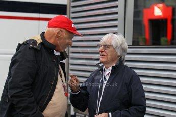 World © Octane Photographic Ltd. F1 Belgian GP - Spa-Francorchamps, Sunday 25th August 2013 - Paddock. Bernie Ecclestone and Niki Lauda. Digital Ref : 0795lw1d9911
