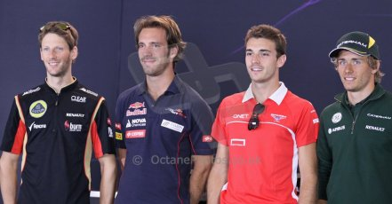 World © Octane Photographic Ltd. F1 Belgian GP - Spa - Francorchamps. Thursday 22nd August 2013. FIA Press Conference. French drivers. Lotus F1 Team E21 - Romain Grosjean, Scuderia Toro Rosso STR8 - Jean-Eric Vergne, Marussia F1 Team MR02 - Jules Bianchi and Caterham F1 Team CT03 - Charles Pic. Digital Ref : 0782lw1d4692