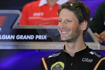 World © Octane Photographic Ltd. F1 Belgian GP - Spa - Francorchamps. Thursday 22nd August 2013. FIA Press Conference. Lotus F1 Team E21 - Romain Grosjean. Digital Ref : 0782lw1d6923