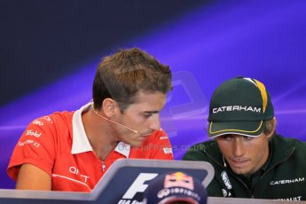 World © Octane Photographic Ltd. F1 Belgian GP - Spa - Francorchamps. Thursday 22nd August 2013. FIA Press Conference. Marussia F1 Team MR02 - Jules Bianchi talking with Caterham F1 Team driver Charles Pic. Digital Ref : 0782lw1d7124
