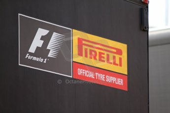 World © Octane Photographic Ltd. GP2 Paddock, Belgian GP, Spa Francorchamps, Thursday 22nd August 2013. Pirelli - F1 official tyee supplier logo. Digital Ref :