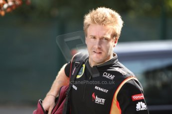 World © Octane Photographic Ltd. F1 Paddock, Belgian GP, Spa Francorchamps, Thursday 22nd August 2013. Davide Valsecchi - Lotus F1 team reserve driver. Digital Ref :