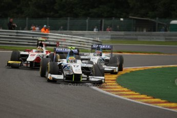 World © Octane Photographic Ltd. GP2 Belgian GP, Spa Francorchamps, Saturday 24th August 2013. Race 1. Rio Haryanto and Jake Rosenzweig of Barwa Addax Team scrap with Daniel Abt – ART Grand Prix. Digital Ref : 0794lw1dx9741