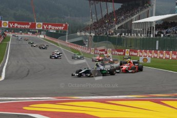 World © Octane Photographic Ltd. GP2 Belgian GP, Spa Francorchamps, Sunday 25th August 2013. Race 2. Tom Dillmann – Russian TIME, Marcus Ericsson - DAMS and Mitch Evans. – Arden International. Digital Ref : 0796lw1d9978