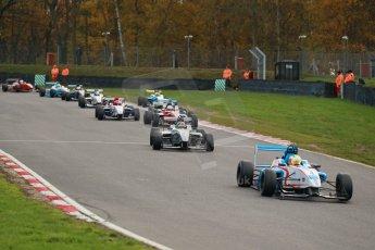 World © Octane Photographic Ltd. Brands Hatch, Race 2, Saturday 23rd November 2013. BRDC Formula 4 Winter Series, MSV F4-13, Sennan Fielding – HHC Motorsport and Kieran Vernon - Hillspeed. Digital Ref : 0865lw1d6852