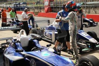World © Octane Photographic Ltd. British Formula 3 – Brands Hatch. Saturday 10th August 2013 – Race 1. Race winner Jazeman Jaafar celebrates in parc ferme– Carlin – Dallara F312 Volkswagen. Digital Ref : 0777cb1d3973