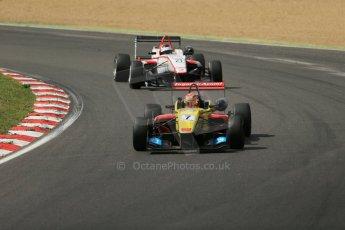 World © Octane Photographic Ltd. British Formula 3 – Brands Hatch. Saturday 10th August 2013 – Race 1. Sean Gelael – Double R – Dallara F312 HWA Mercedes and Jann Mardenborough – Carlin – Dallara F312 Volkswagen. Digital Ref : 0777lw1d6391