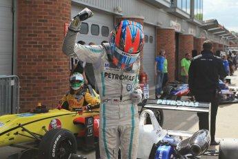 World © Octane Photographic Ltd. British Formula 3 – Brands Hatch. Saturday 10th August 2013 – Race 1. Race winner Jazeman Jaafar celebrates in parc ferme– Carlin – Dallara F312 Volkswagen. Digital Ref : 0777lw1d6475
